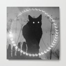 Phases of the Moon: Black Cat Metal Print