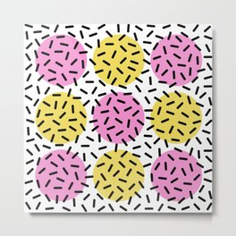 Memphis Polka Dot Sprinkles Pattern 131 Metal Print