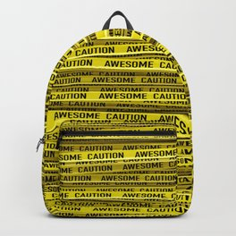 AWESOME, use caution / 3D render of awesome warning tape Backpack