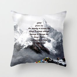 Serenity Prayer With Panoramic View Of Everest Mountain Throw Pillow