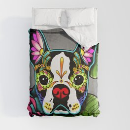 Boston Terrier in Black - Day of the Dead Sugar Skull Dog Comforters