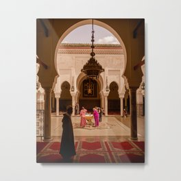 Moroccan Mosque Courtyard Beautiful Islamic Geometry Architecture Middle East Photography Metal Print
