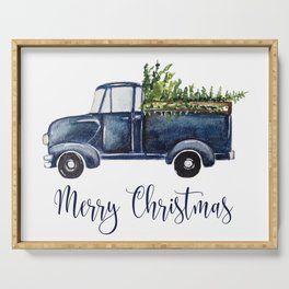Blue Christmas Truck Serving Tray