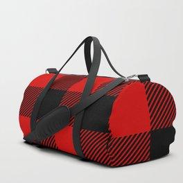 Red Lumberjack Pattern Duffle Bag