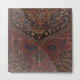 Boho Chic Dark VII // 17th Century Colorful Medallion Red Blue Green Brown Ornate Accent Rug Pattern Metal Print