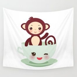 Cute Kawai pink cup with brown monkey Wall Tapestry
