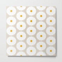 Minimal Botanical Pattern - Daisies Metal Print