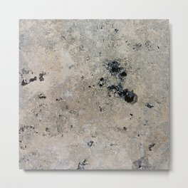 Abstract vintage black gray ivory marble Metal Print