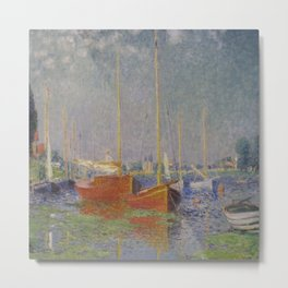 Claude Monet's Argenteuil (Red Boats) Metal Print