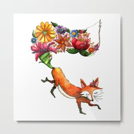 Hunt Flowers Not Foxes One Metal Print