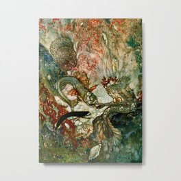 """King of the Mermaids"" Fairy Tale Art by Edmund Dulac Metal Print"
