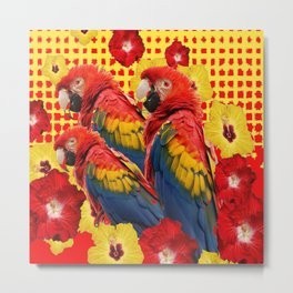 DECORATIVE TROPICAL RED MACAWS & HIBISCUS  FLOWERS Metal Print