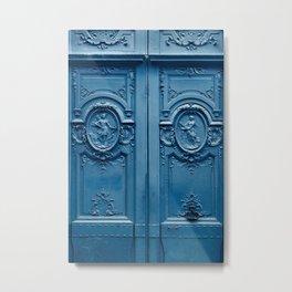 Classic Blue Door in Paris, Architecture Photography Metal Print