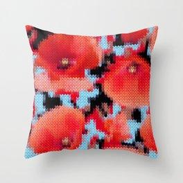 Knitting Poppies Throw Pillow