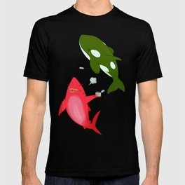 Green Orca and Red Shark and Black Cats T-shirt
