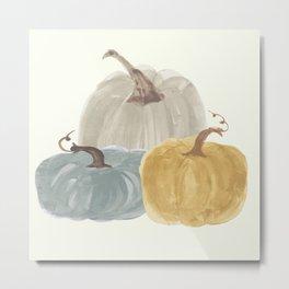Watercolor Pumpkin Trio Metal Print