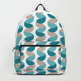 Abstract circle vertical rows teal & cream Backpack