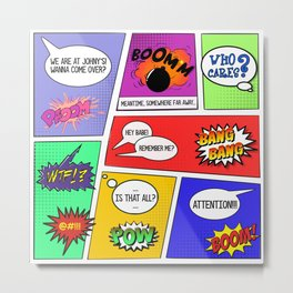 Comics pattern boom bang bang Metal Print