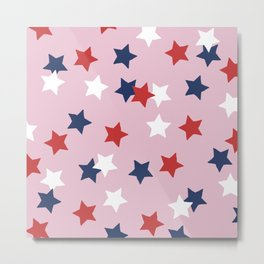 Little 4th of July stars American national holiday celebration pattern pink Metal Print