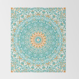 Orange and Turquoise Clarity Mandala Throw Blanket