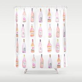 Watercolor Rosé Wine Bottles Shower Curtain