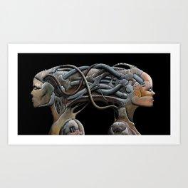 Brain connected cyborgs. External view Art Print