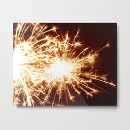 Golden Summer Sparkler Metal Print