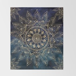 Elegant Gold Mandala Blue Galaxy Design Throw Blanket