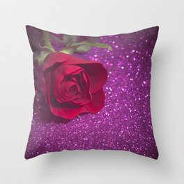 Rose over purple abstract background with bokeh defocused lights Throw Pillow