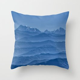 Blue Hima-layers Throw Pillow