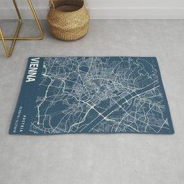 Vienna Blueprint Street Map, Vienna Colour Map Prints Rug