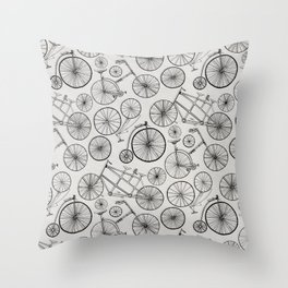 Monochrome Vintage Bicycles of Soft Grey Throw Pillow