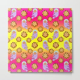 Cute sweet adorable Kawaii cats, funny happy cookies colorful rainbow yellow pink pattern design. Space suits and astronauts. Metal Print