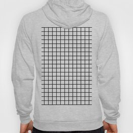 fine black grid on white background - black and white pattern Hoody