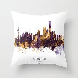 Shanghai China Skyline Throw Pillow
