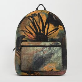 Grow Through It: sunflowers in the rain - abstract mixed media piece Backpack