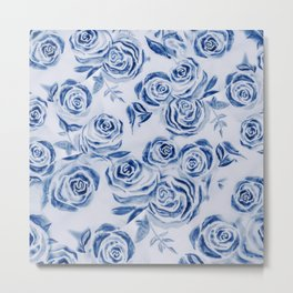 Blue Rose Floral Pattern - Most liked blues Metal Print