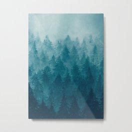 Misty Pine Forest Metal Print