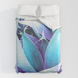 Aqua Violet Abstract Leaves Comforters