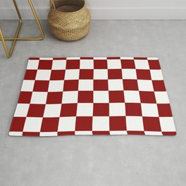 Red White Checker Rug