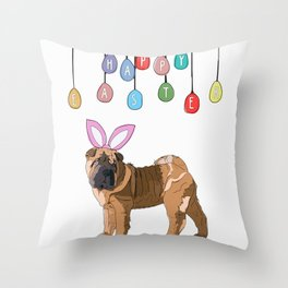 Happy Easter Bunny - Shar Pei dog Throw Pillow