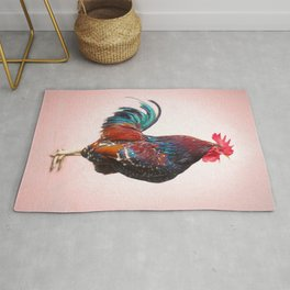 A Crowing Rooster Called Wyeth. A Painting for the Kitchen. Rug