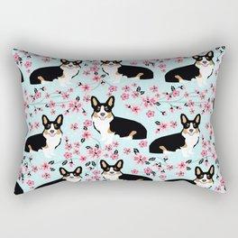 Welsh corgi tricolored cherry blossoms botanical florals japanese flowers dog breed corgis Rectangular Pillow