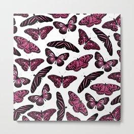 Girly Pink Black Butterflies Watercolor Pattern Metal Print