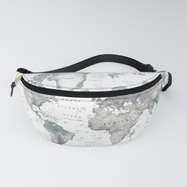 The World [Black and White Relief Map] Fanny Pack