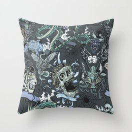 Tattoo Repeat Pattern Throw Pillow