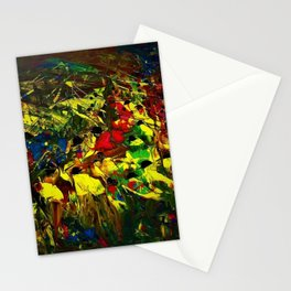 Indigenous Inca People of the Peruvian highlands of Machu Picchu landscape painting by Ortega Maila Stationery Cards