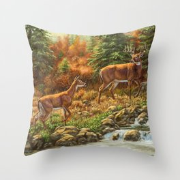 Whitetil Deer Doe & Buck by Waterfall Throw Pillow