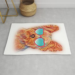 Yorkshire Terrier Colorful Yorkie Neon Dog Sunglasses Rug