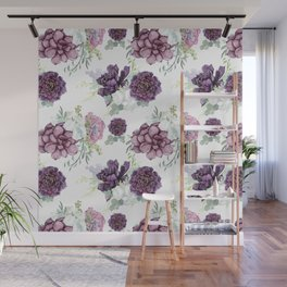 Succulents Deep Violet Lavender Pastel Green Lilac PatternSee Nature Magick for more pretty pastel c Wall Mural